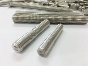 otomatis custom machined fasteners stainless steel ganda tungtung threaded rod